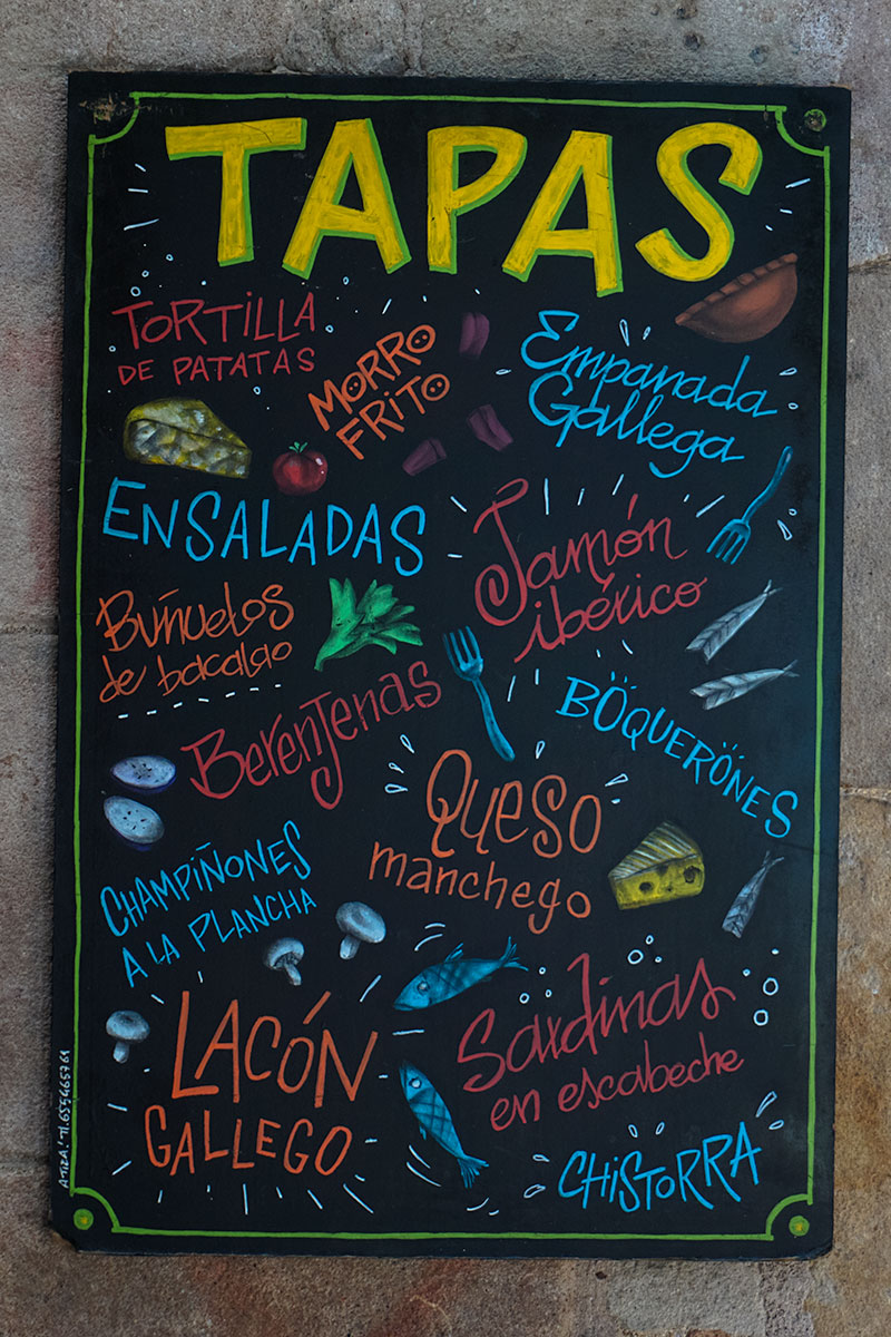 Spanish Tapas Menu